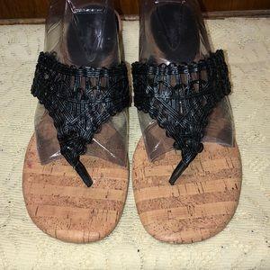 Dexflex Comfort Women's Black Thong Wedge Sandals